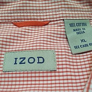 Coral check Izod button down - short sleeve